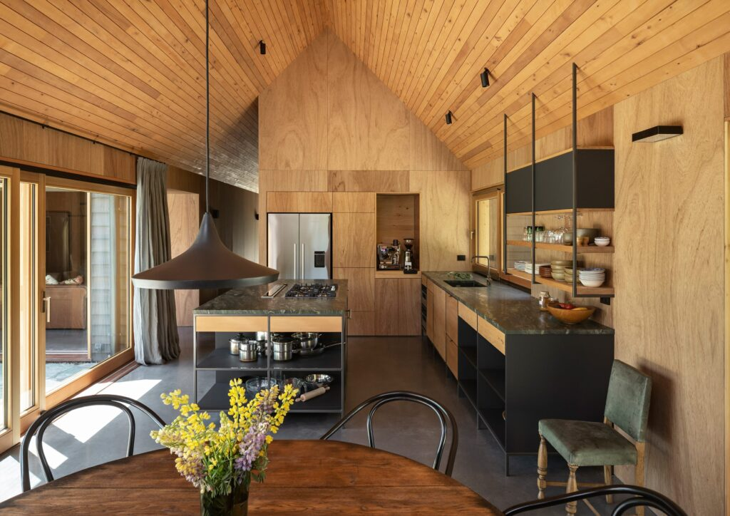 Concrete floors and wood interior in a modern small house